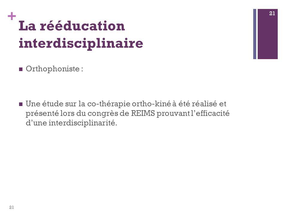 + La rééducation interdisciplinaire Orthophoniste : Une étude sur la co-thérapie ortho-kiné à été réalisé et présenté lors du congrès de REIMS prouvan