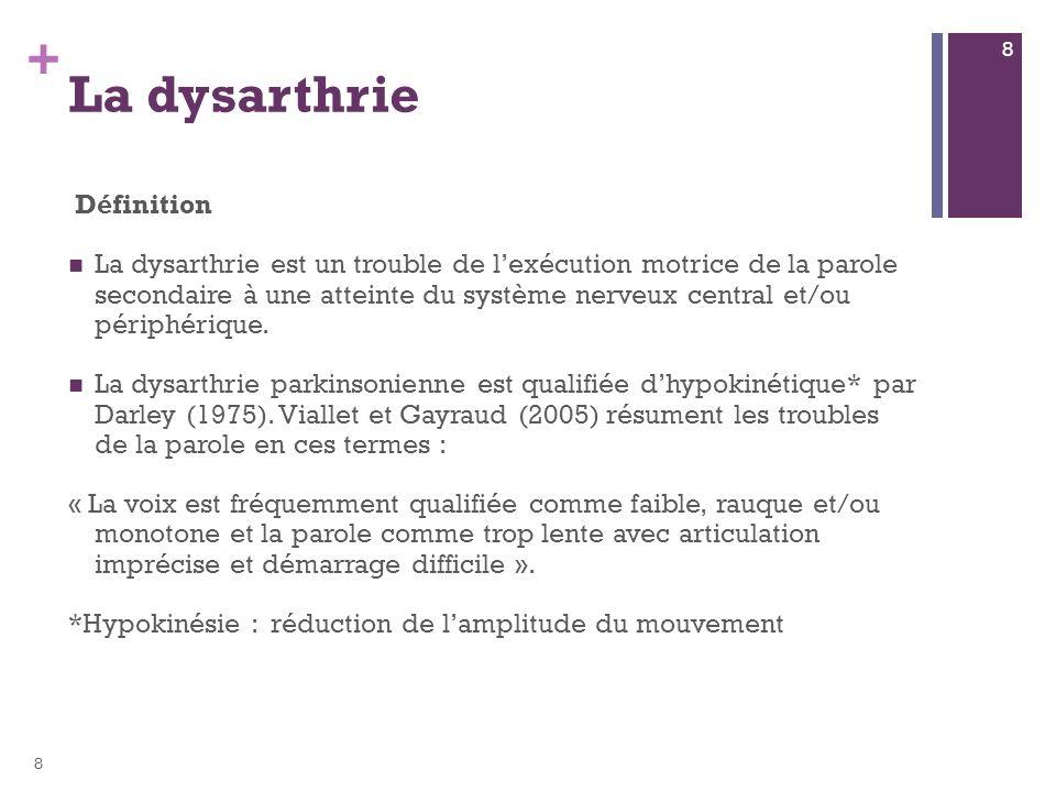 + La dysarthrie parkinsonienne altère les différentes composantes de la parole : Troubles phonatoires Troubles prosodiques Troubles articulatoires 9 9