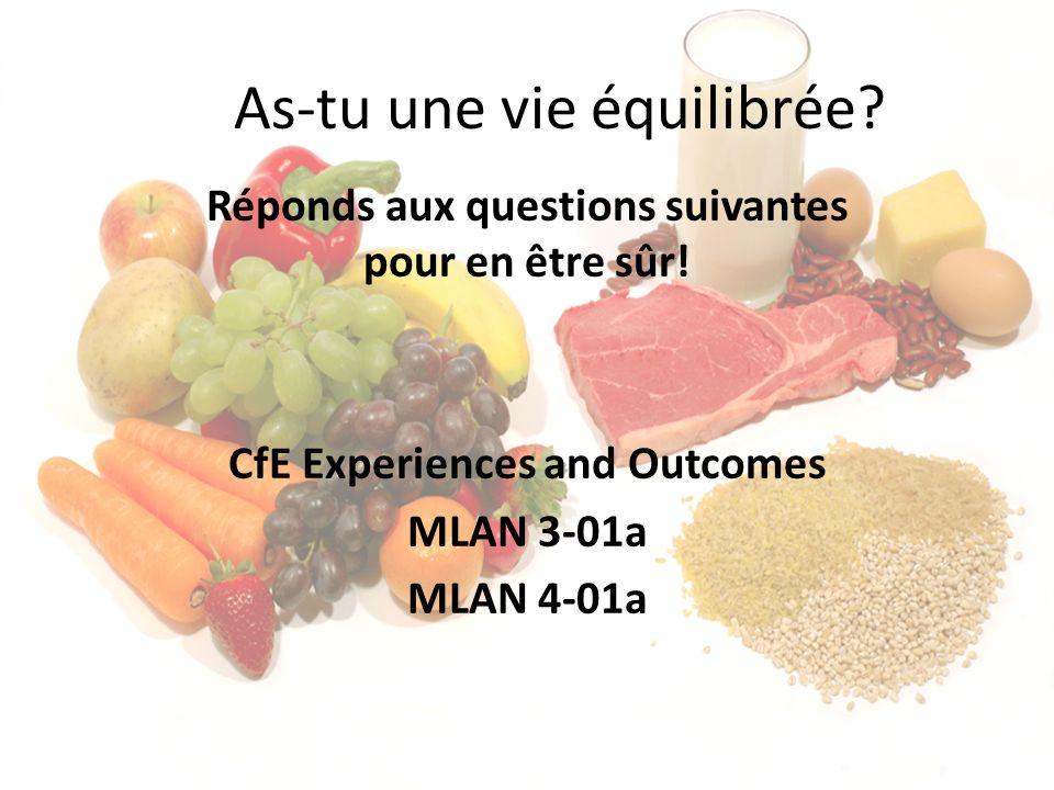 As-tu une vie équilibrée? Réponds aux questions suivantes pour en être sûr! CfE Experiences and Outcomes MLAN 3-01a MLAN 4-01a