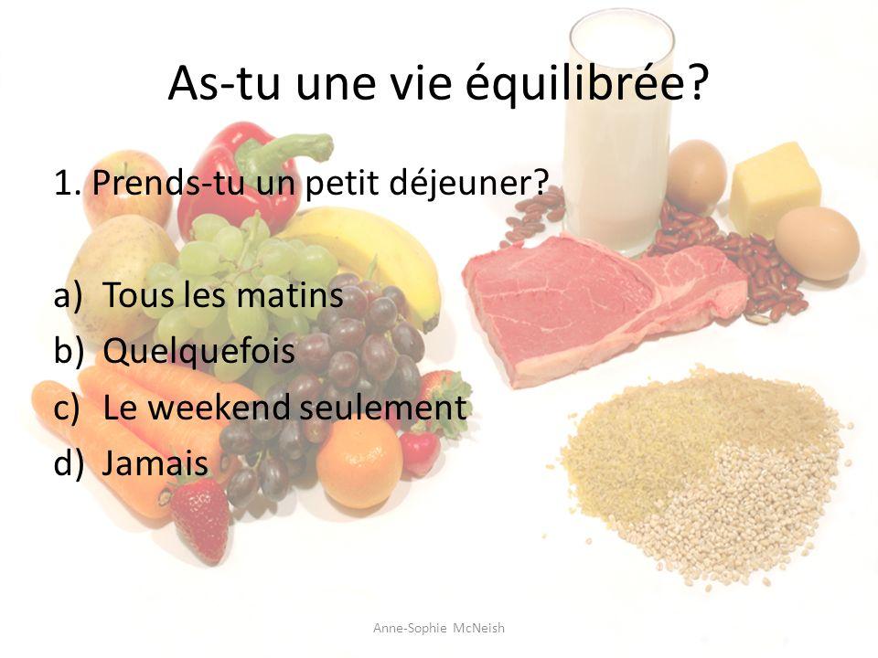 As-tu une vie équilibrée? 1. Prends-tu un petit déjeuner? a)Tous les matins b)Quelquefois c)Le weekend seulement d)Jamais Anne-Sophie McNeish