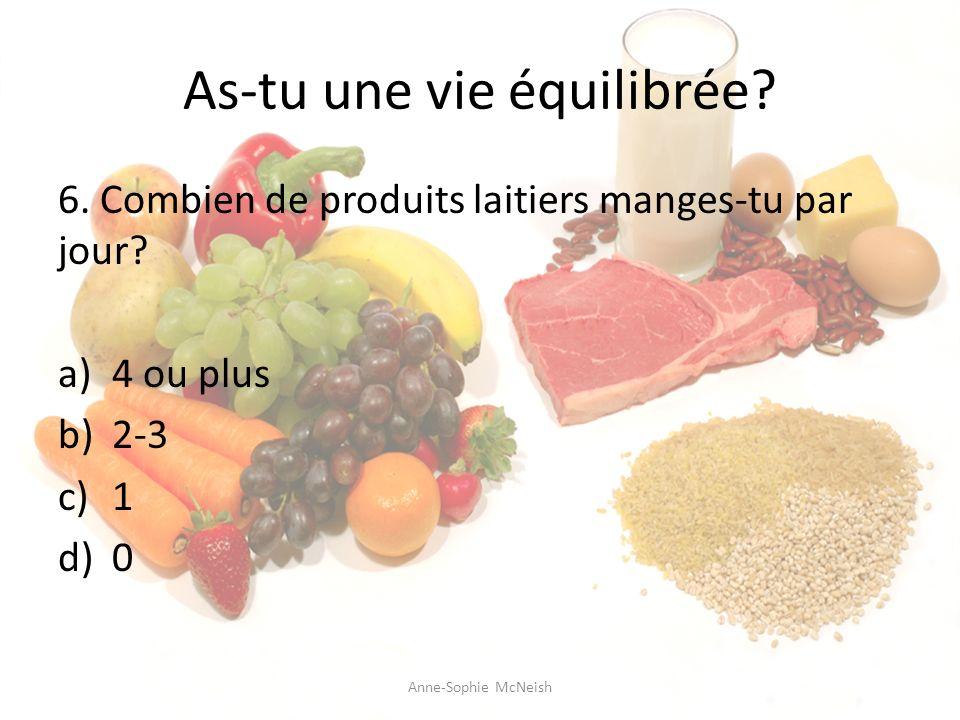 As-tu une vie équilibrée? 6. Combien de produits laitiers manges-tu par jour? a)4 ou plus b)2-3 c)1 d)0 Anne-Sophie McNeish