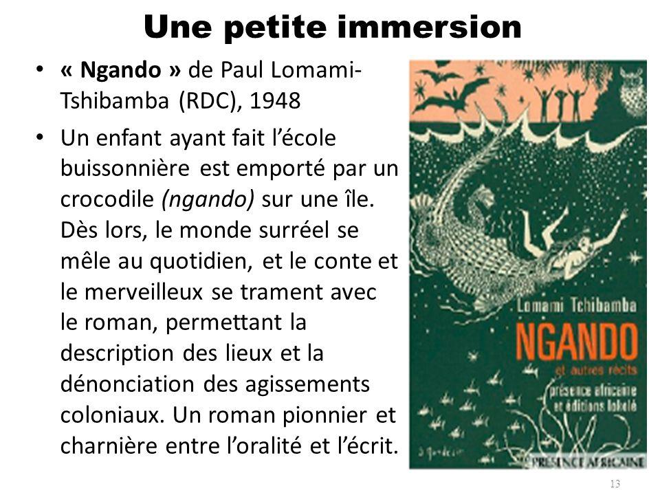 « Ngando » de Paul Lomami- Tshibamba (RDC), 1948 Un enfant ayant fait lécole buissonnière est emporté par un crocodile (ngando) sur une île. Dès lors,