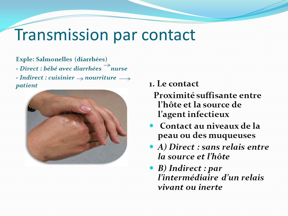 Transmission par contact Exple: Salmonelles (diarrhées) - Direct : bébé avec diarrhées nurse - Indirect : cuisinier nourriture patient 1. Le contact P