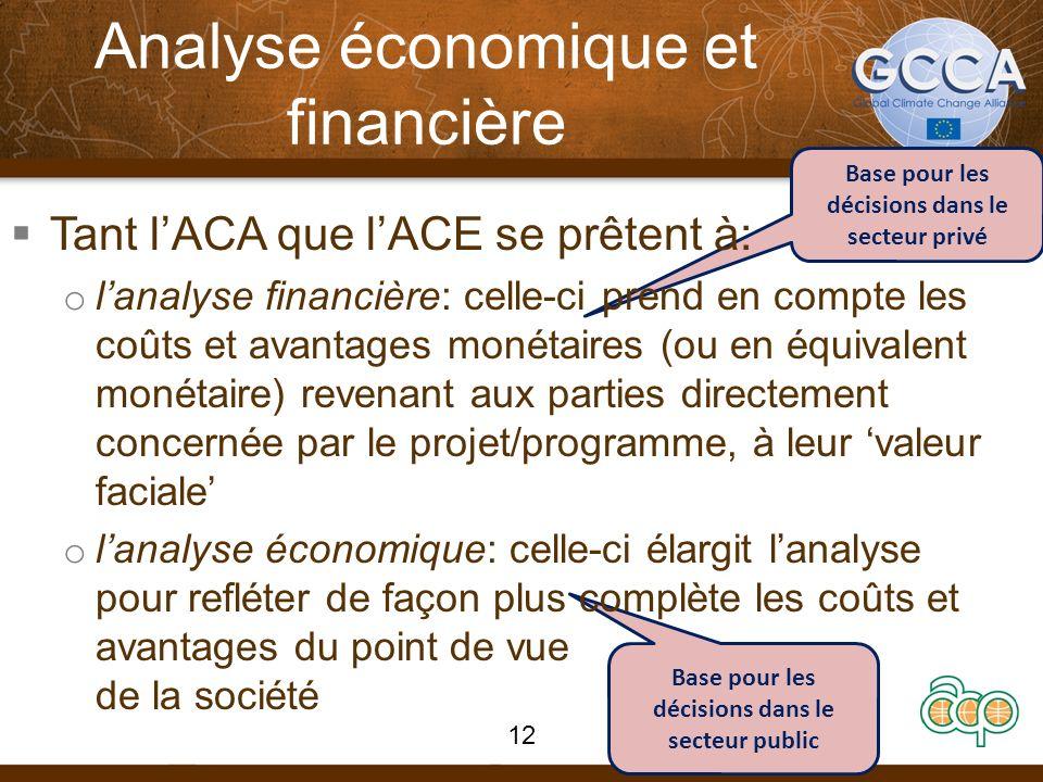 Base pour les décisions dans le secteur public Base pour les décisions dans le secteur privé Analyse économique et financière Tant lACA que lACE se prêtent à: o lanalyse financière: celle-ci prend en compte les coûts et avantages monétaires (ou en équivalent monétaire) revenant aux parties directement concernée par le projet/programme, à leur valeur faciale o lanalyse économique: celle-ci élargit lanalyse pour refléter de façon plus complète les coûts et avantages du point de vue de la société 12