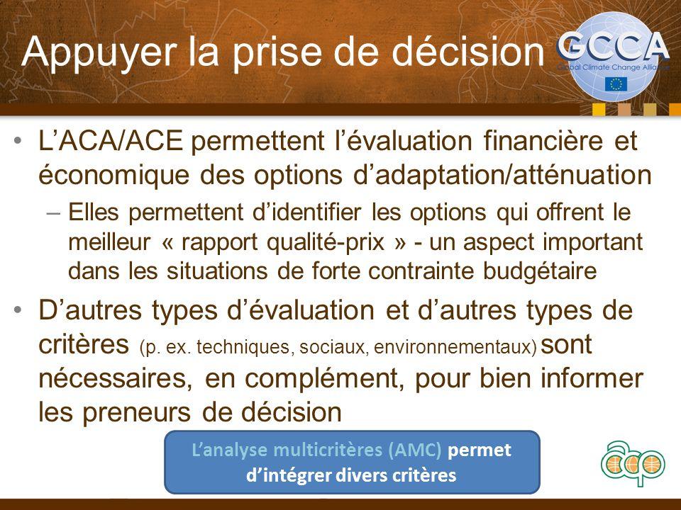 Appuyer la prise de décision LACA/ACE permettent lévaluation financière et économique des options dadaptation/atténuation –Elles permettent didentifie