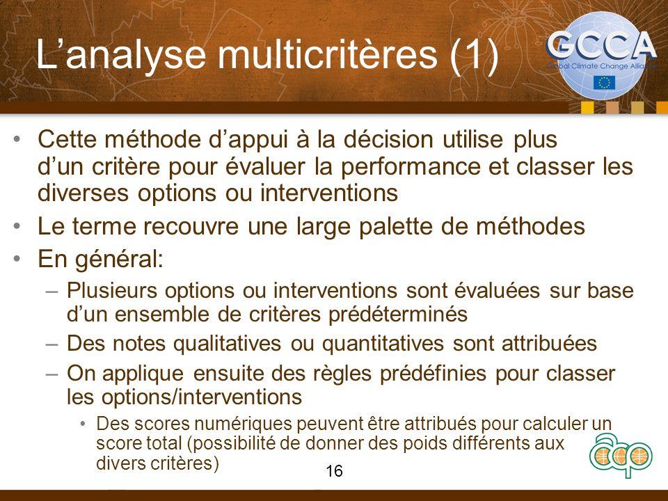 Lanalyse multicritères (1) Cette méthode dappui à la décision utilise plus dun critère pour évaluer la performance et classer les diverses options ou