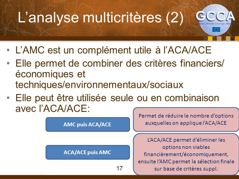 Lanalyse multicritères (2) LAMC est un complément utile à lACA/ACE Elle permet de combiner des critères financiers/ économiques et techniques/environnementaux/sociaux Elle peut être utilisée seule ou en combinaison avec lACA/ACE: AMC puis ACA/ACE ACA/ACE puis AMC Permet de réduire le nombre doptions auxquelles on applique lACA/ACE LACA/ACE permet déliminer les options non viables financièrement/économiquement, ensuite lAMC permet la sélection finale sur base de critères suppl.