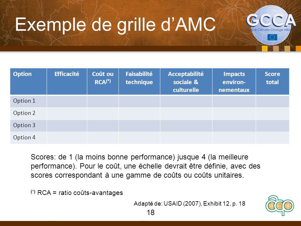 Exemple de grille dAMC OptionEfficacitéCoût ou RCA (*) Faisabilité technique Acceptabilité sociale & culturelle Impacts environ- nementaux Score total Option 1 Option 2 Option 3 Option 4 Scores: de 1 (la moins bonne performance) jusque 4 (la meilleure performance).
