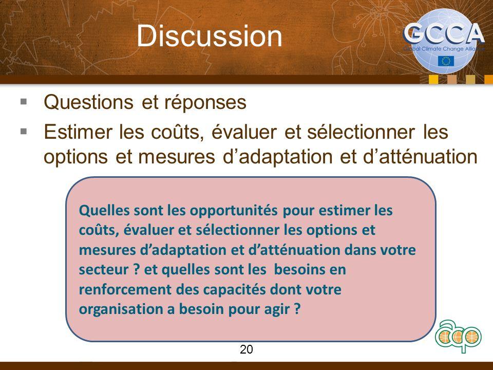 Discussion Questions et réponses Estimer les coûts, évaluer et sélectionner les options et mesures dadaptation et datténuation Quelles sont les opport