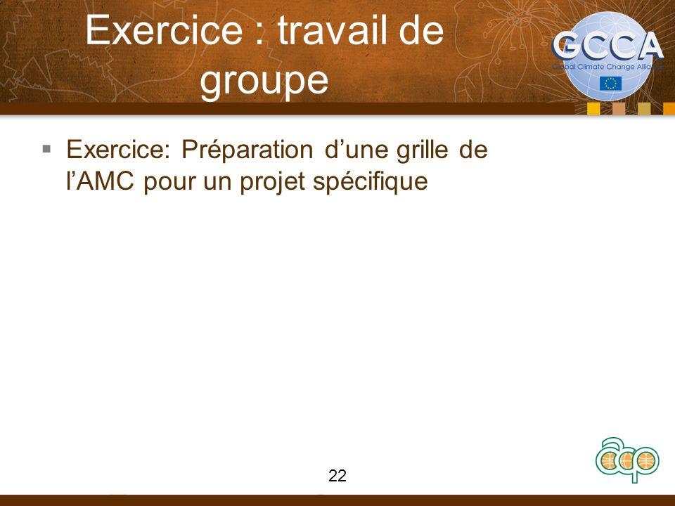 Exercice : travail de groupe Exercice: Préparation dune grille de lAMC pour un projet spécifique 22