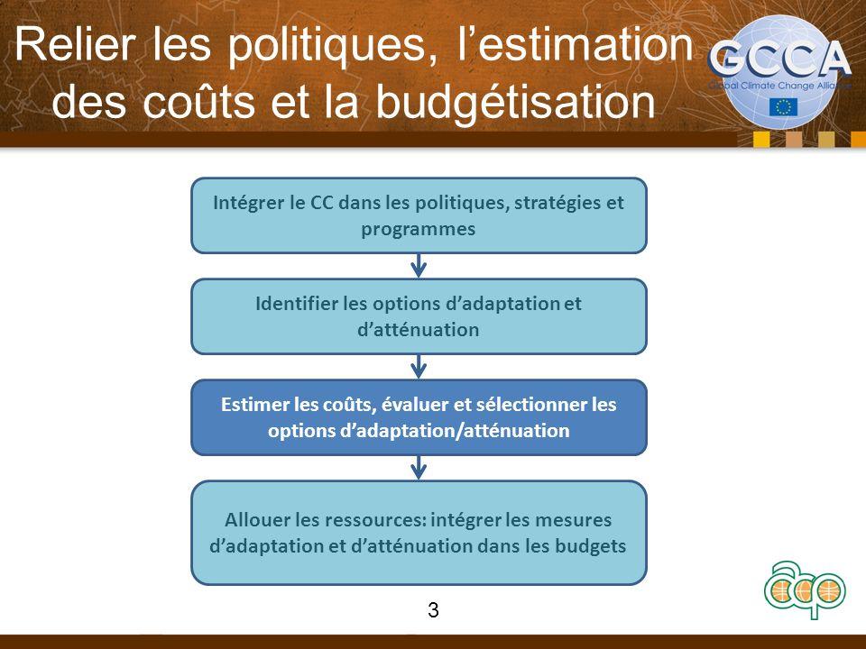 Relier les politiques, lestimation des coûts et la budgétisation Intégrer le CC dans les politiques, stratégies et programmes Identifier les options d