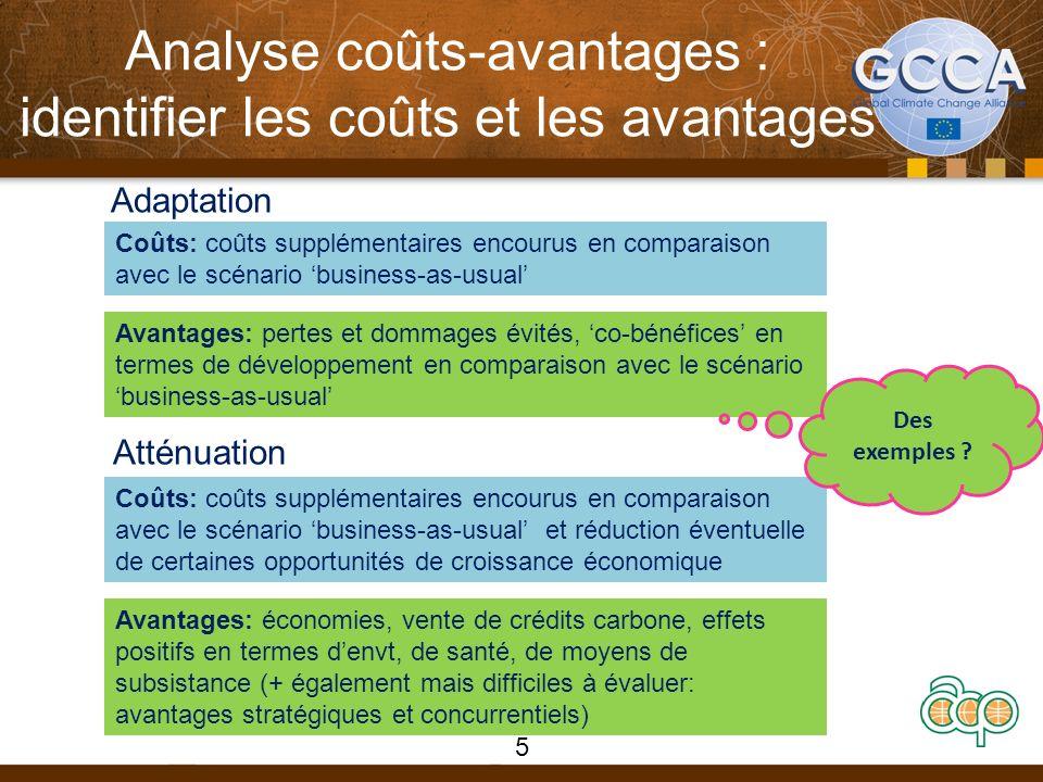 Analyse coûts-avantages : identifier les coûts et les avantages Adaptation Atténuation Coûts: coûts supplémentaires encourus en comparaison avec le sc