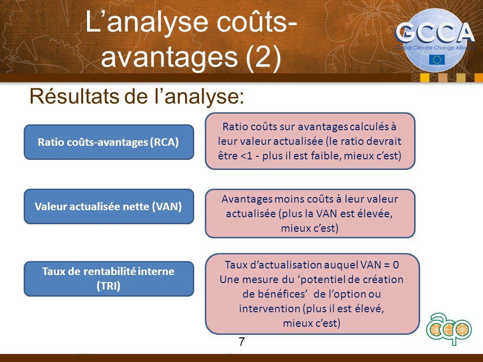Lanalyse coûts- avantages (2) Résultats de lanalyse: Ratio coûts-avantages (RCA) Valeur actualisée nette (VAN) Taux de rentabilité interne (TRI) Ratio coûts sur avantages calculés à leur valeur actualisée (le ratio devrait être <1 - plus il est faible, mieux cest) Avantages moins coûts à leur valeur actualisée (plus la VAN est élevée, mieux cest) Taux dactualisation auquel VAN = 0 Une mesure du potentiel de création de bénéfices de loption ou intervention (plus il est élevé, mieux cest) 7