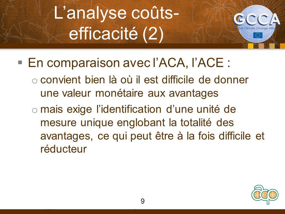 Lanalyse coûts- efficacité (2) En comparaison avec lACA, lACE : o convient bien là où il est difficile de donner une valeur monétaire aux avantages o mais exige lidentification dune unité de mesure unique englobant la totalité des avantages, ce qui peut être à la fois difficile et réducteur 9
