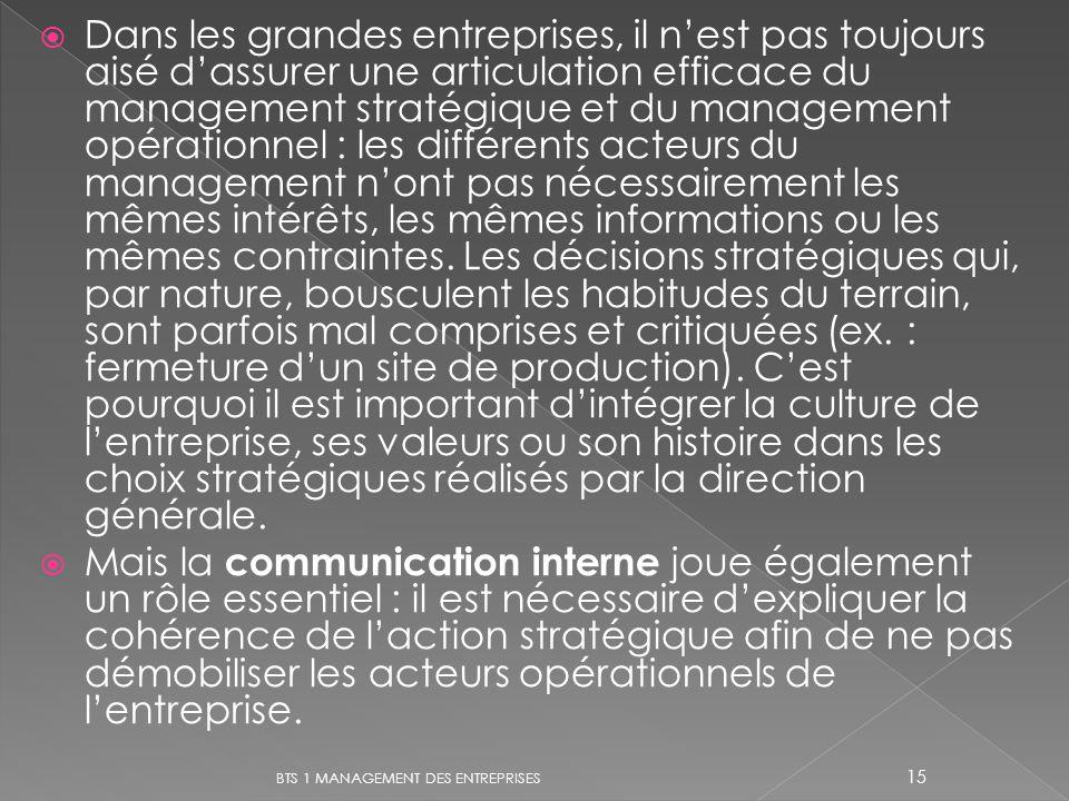 Dans les grandes entreprises, il nest pas toujours aisé dassurer une articulation efficace du management stratégique et du management opérationnel : l