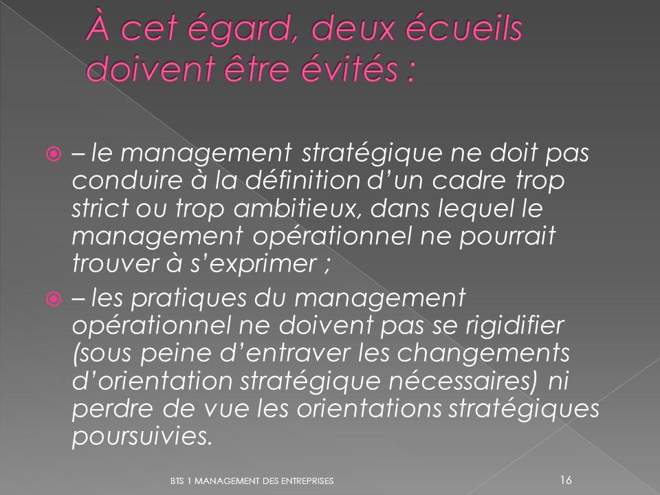 – le management stratégique ne doit pas conduire à la définition dun cadre trop strict ou trop ambitieux, dans lequel le management opérationnel ne po