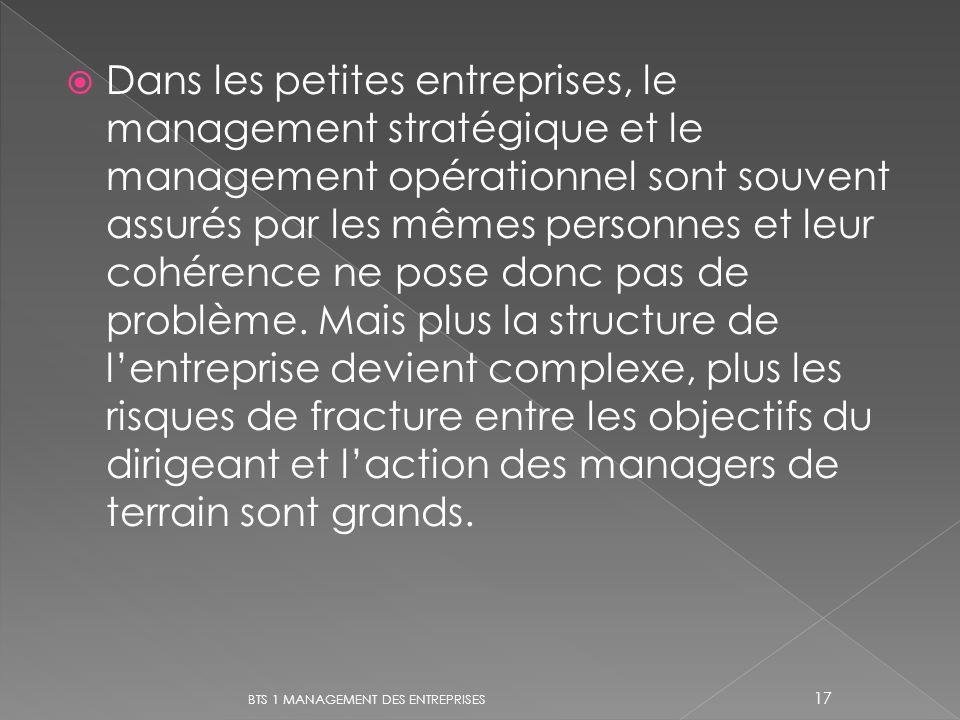 Dans les petites entreprises, le management stratégique et le management opérationnel sont souvent assurés par les mêmes personnes et leur cohérence n