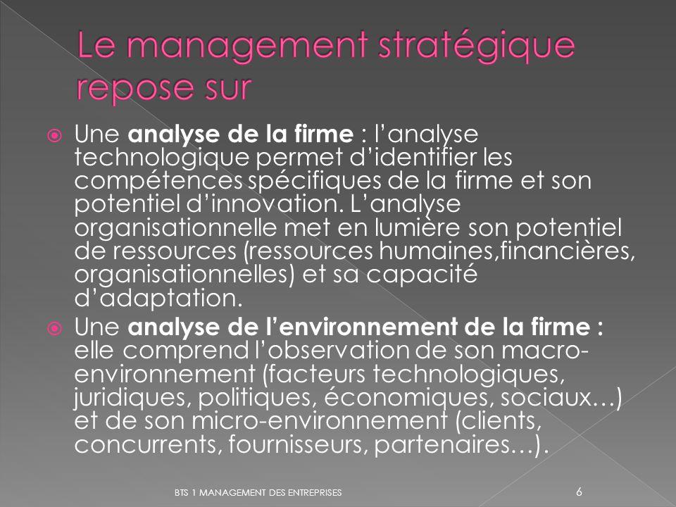 Une analyse de la firme : lanalyse technologique permet didentifier les compétences spécifiques de la firme et son potentiel dinnovation. Lanalyse org