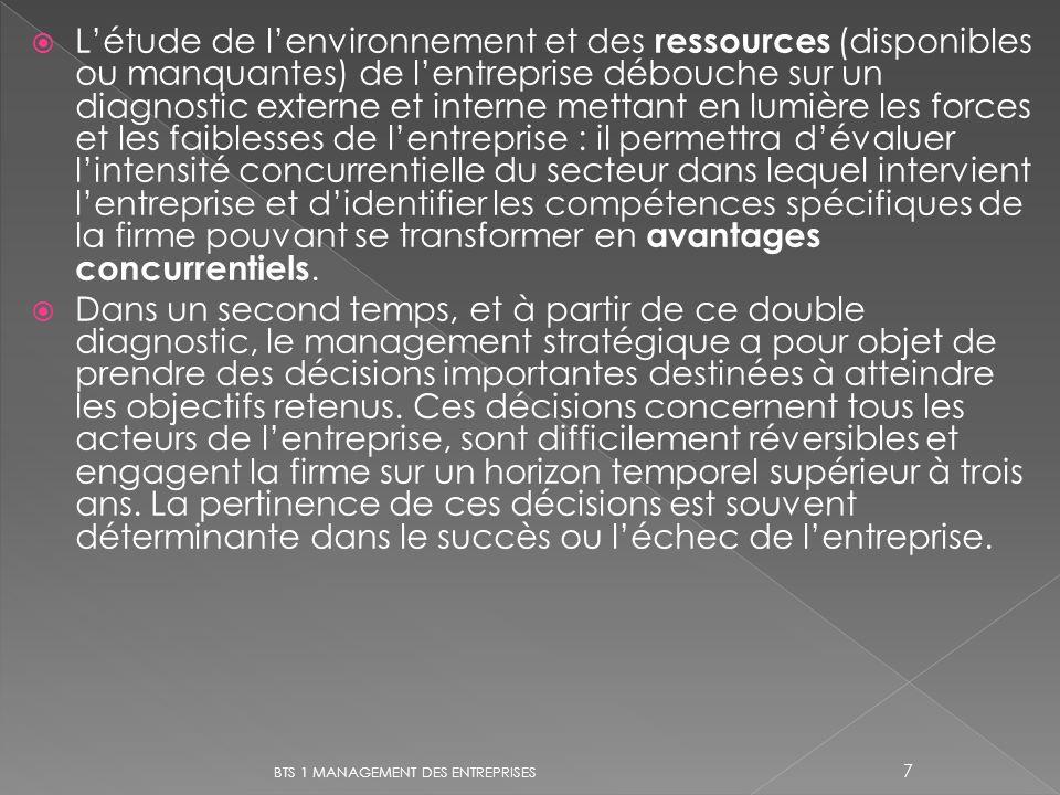Létude de lenvironnement et des ressources (disponibles ou manquantes) de lentreprise débouche sur un diagnostic externe et interne mettant en lumière