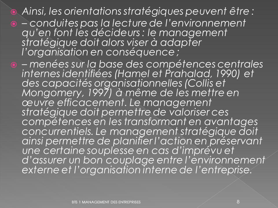 Ainsi, les orientations stratégiques peuvent être : – conduites pas la lecture de lenvironnement quen font les décideurs : le management stratégique d