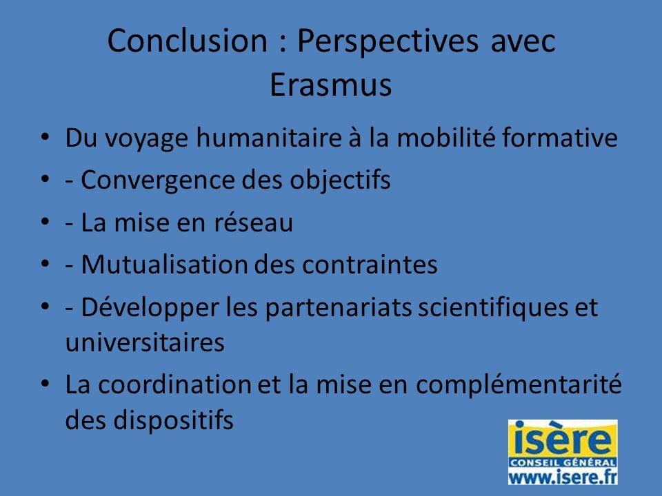 Conclusion : Perspectives avec Erasmus Du voyage humanitaire à la mobilité formative - Convergence des objectifs - La mise en réseau - Mutualisation des contraintes - Développer les partenariats scientifiques et universitaires La coordination et la mise en complémentarité des dispositifs