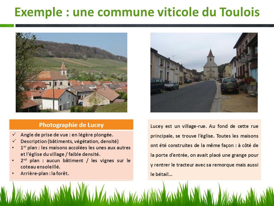 Exemple : une commune viticole du Toulois Photographie de Lucey Angle de prise de vue : Description (bâtiments, végétation, densité) 1 er plan : 2 nd