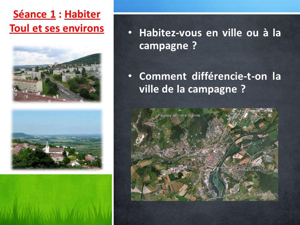 Habitez-vous en ville ou à la campagne ? Comment différencie-t-on la ville de la campagne ? Séance 1 : Habiter Toul et ses environs