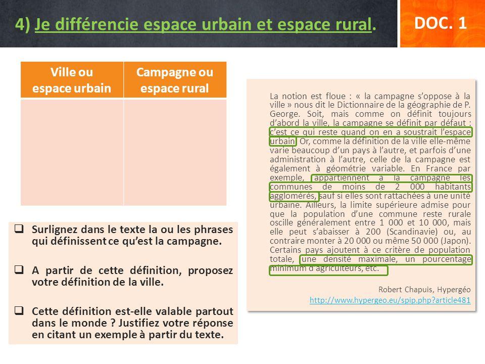 Surlignez dans le texte la ou les phrases qui définissent ce quest la campagne. A partir de cette définition, proposez votre définition de la ville. C