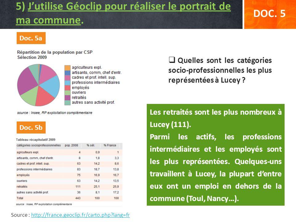 Source : http://france.geoclip.fr/carto.php?lang=frhttp://france.geoclip.fr/carto.php?lang=fr DOC. 5 Quelles sont les catégories socio-professionnelle