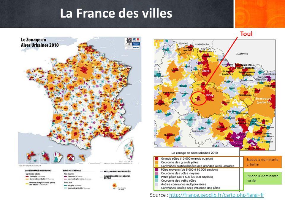 La France des villes Source : http://france.geoclip.fr/carto.php?lang=frhttp://france.geoclip.fr/carto.php?lang=fr Espace à dominante urbaine Espace à