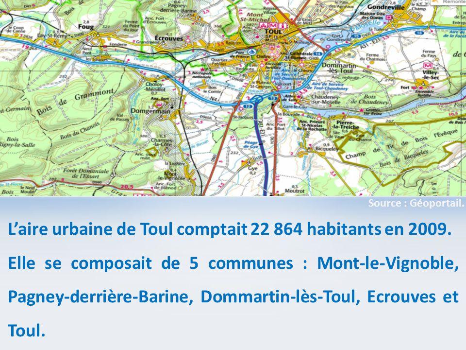 Laire urbaine de Toul comptait 22 864 habitants en 2009. Elle se composait de 5 communes : Mont-le-Vignoble, Pagney-derrière-Barine, Dommartin-lès-Tou