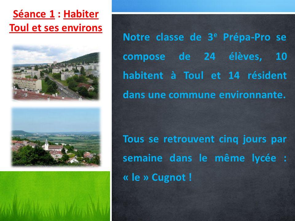 Séance 1 : Habiter Toul et ses environs Notre classe de 3 e Prépa-Pro se compose de 24 élèves, 10 habitent à Toul et 14 résident dans une commune envi