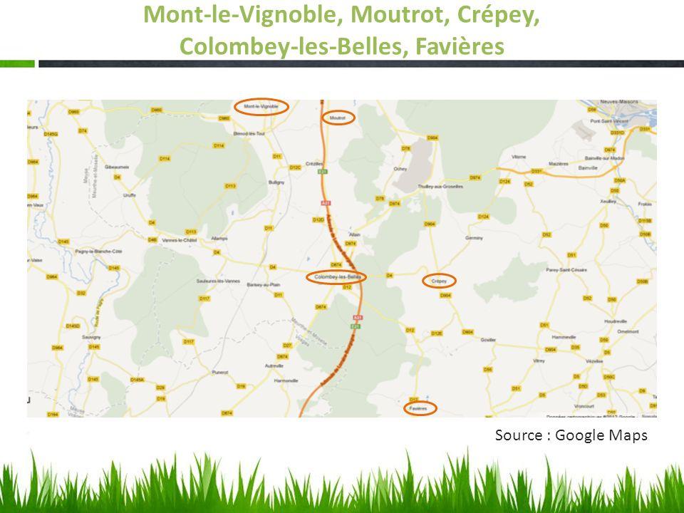 Source : Google Maps Mont-le-Vignoble, Moutrot, Crépey, Colombey-les-Belles, Favières