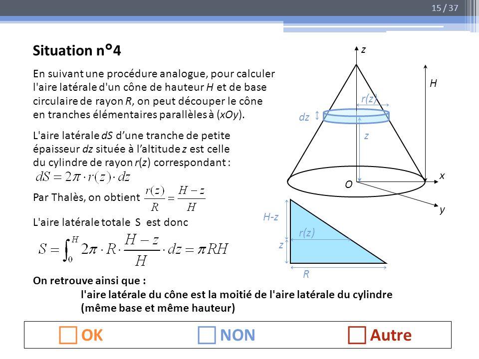 Situation n°4 En suivant une procédure analogue, pour calculer l'aire latérale d'un cône de hauteur H et de base circulaire de rayon R, on peut découp