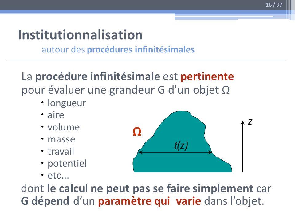 Institutionnalisation autour des procédures infinitésimales La procédure infinitésimale est pertinente pour évaluer une grandeur G d'un objet longueur