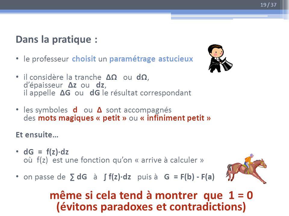 Dans la pratique : le professeur choisit un paramétrage astucieux il considère la tranche ou d, dépaisseur z ou dz, il appelle G ou dG le résultat cor