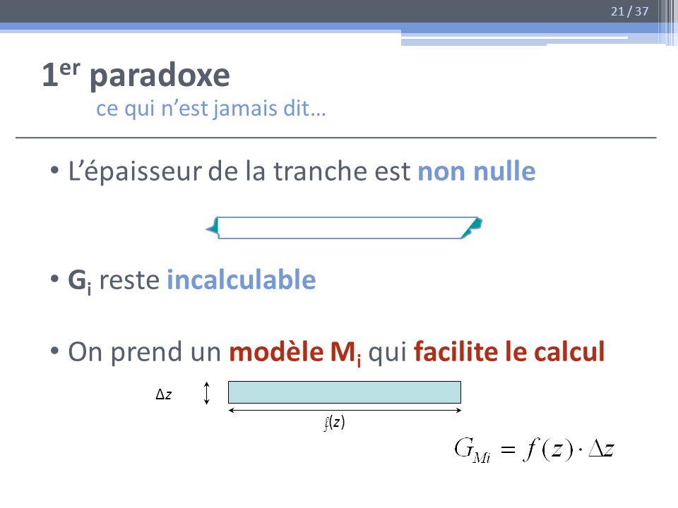1 er paradoxe ce qui nest jamais dit… Lépaisseur de la tranche est non nulle G i reste incalculable On prend un modèle M i qui facilite le calcul ΔzΔz