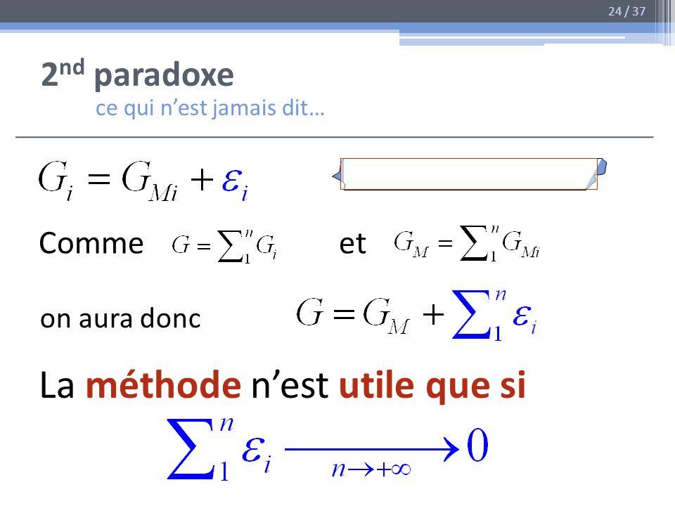 2 nd paradoxe ce qui nest jamais dit… Comme et on aura donc La méthode nest utile que si 24 / 37