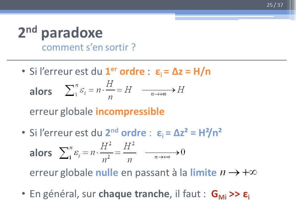 2 nd paradoxe comment sen sortir ? Si lerreur est du 1 er ordre : ε i = Δz = H/n alors erreur globale incompressible Si lerreur est du 2 nd ordre : ε
