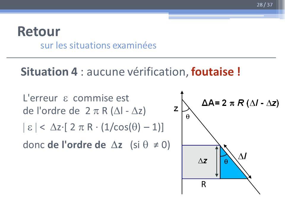 Retour sur les situations examinées Situation 4 : aucune vérification, foutaise ! L'erreur commise est de l'ordre de 2 R ( l - z) < z·[ 2 R · (1/cos(