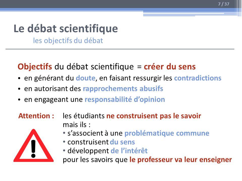 Le débat scientifique les objectifs du débat Objectifs du débat scientifique = créer du sens en générant du doute, en faisant ressurgir les contradict