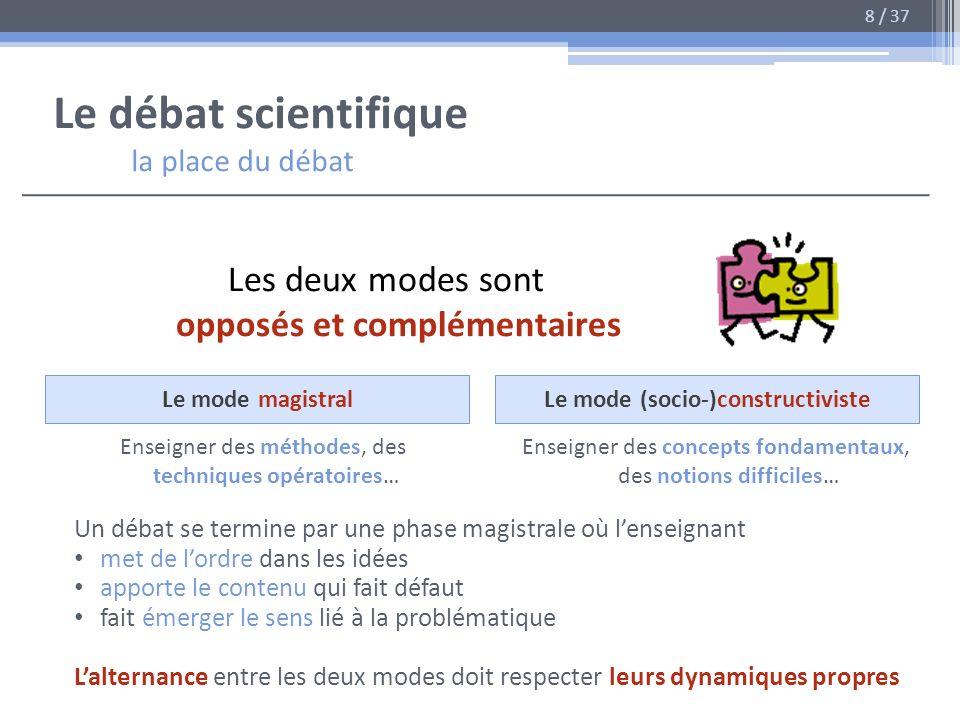 Le débat scientifique la place du débat Les deux modes sont opposés et complémentaires Le mode magistralLe mode (socio-)constructiviste Enseigner des