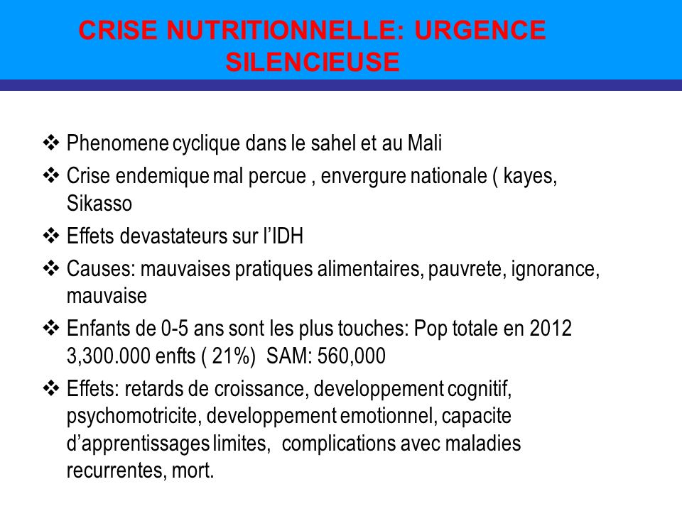 CRISE NUTRITIONNELLE: URGENCE SILENCIEUSE Phenomene cyclique dans le sahel et au Mali Crise endemique mal percue, envergure nationale ( kayes, Sikasso Effets devastateurs sur lIDH Causes: mauvaises pratiques alimentaires, pauvrete, ignorance, mauvaise Enfants de 0-5 ans sont les plus touches: Pop totale en 2012 3,300.000 enfts ( 21%) SAM: 560,000 Effets: retards de croissance, developpement cognitif, psychomotricite, developpement emotionnel, capacite dapprentissages limites, complications avec maladies recurrentes, mort.