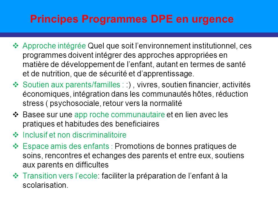 Principes Programmes DPE en urgence Approche intégrée Quel que soit lenvironnement institutionnel, ces programmes doivent intégrer des approches appropriées en matière de développement de lenfant, autant en termes de santé et de nutrition, que de sécurité et dapprentissage.