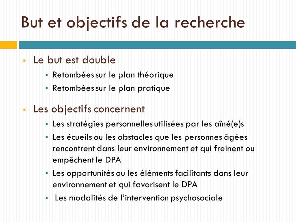 But et objectifs de la recherche Le but est double Retombées sur le plan théorique Retombées sur le plan pratique Les objectifs concernent Les stratég