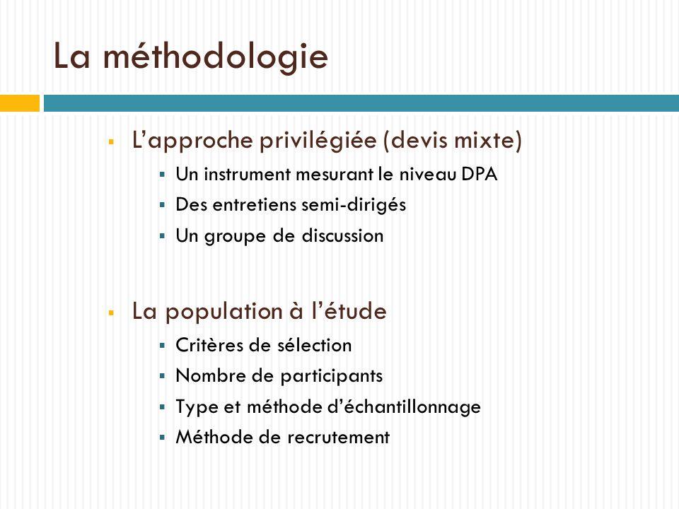 La méthodologie Lapproche privilégiée (devis mixte) Un instrument mesurant le niveau DPA Des entretiens semi-dirigés Un groupe de discussion La popula