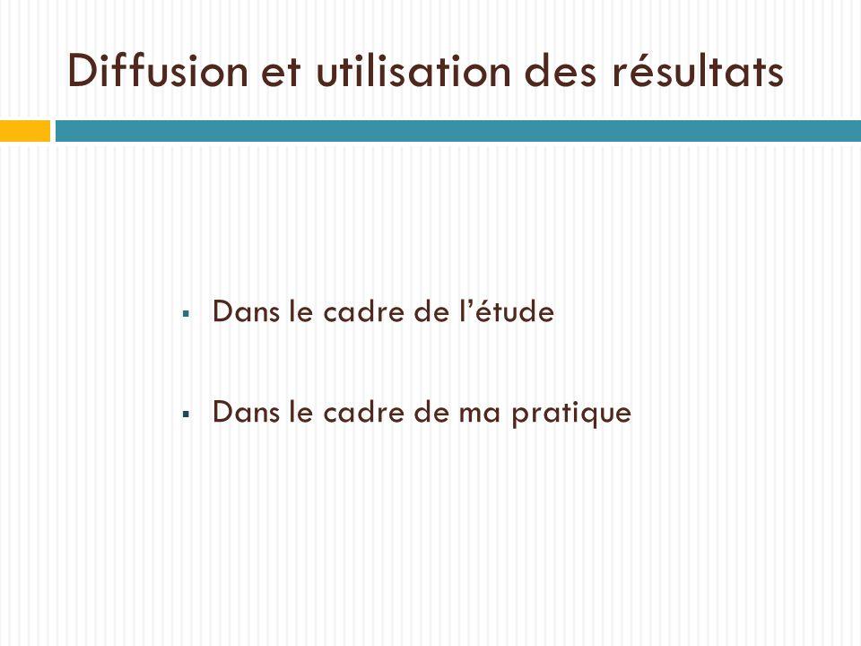 Diffusion et utilisation des résultats Dans le cadre de létude Dans le cadre de ma pratique