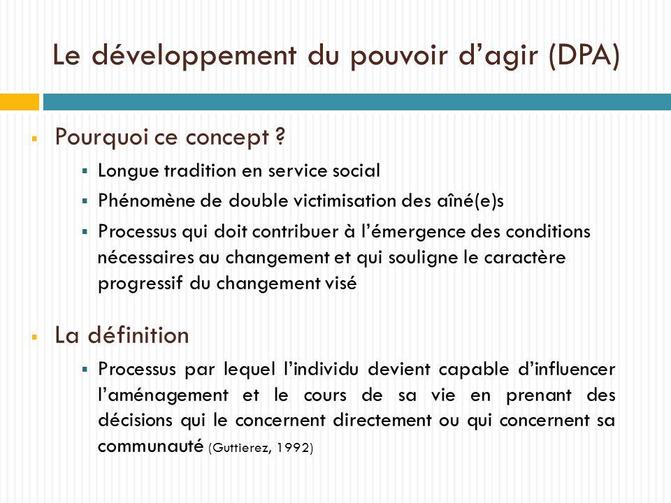 Le développement du pouvoir dagir (DPA) Pourquoi ce concept ? Longue tradition en service social Phénomène de double victimisation des aîné(e)s Proces