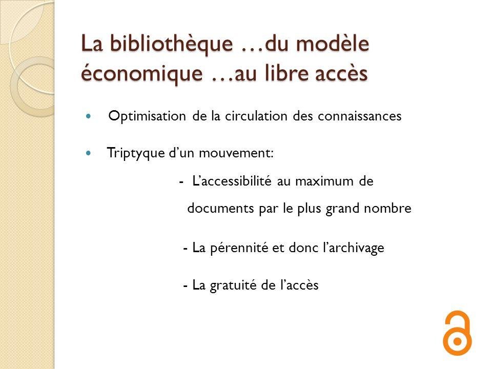 La bibliothèque …du modèle économique …au libre accès Optimisation de la circulation des connaissances Triptyque dun mouvement: - Laccessibilité au ma