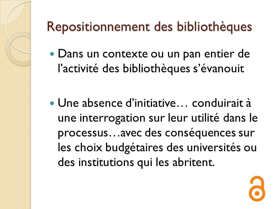 Repositionnement des bibliothèques Dans un contexte ou un pan entier de lactivité des bibliothèques sévanouit Une absence dinitiative… conduirait à un